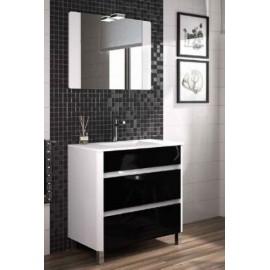 Mueble baño Luna con espejo y lavabo de porcelana suspendido.(LACADO ALTO BRILLO)
