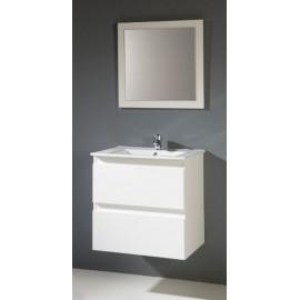 Mueble baño METROPOLIS suspendido con lavabo ceramico y espejo.