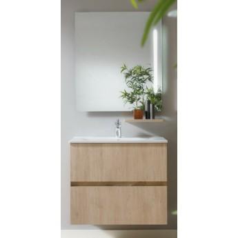 Mueble ba o molto de 70 cm suspendido acabado en roble con for Muebles de lavabo de 70 cm