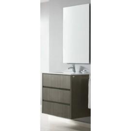 Mueble baño LIDO de 70 cm suspendido de madera MDF de 3 cajones acabado en TER con lavabo ceramico  y espejo.