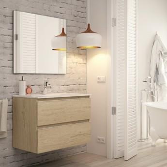 Mueble Baño Madrid Acabado Bambu De 80 Cm Con Lavabo Ceramico Y