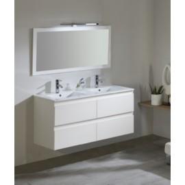 Mueble baño Metropolis de 120 cm con 1 lavabo ceramico de 2 senos y espejo con trasera.