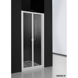 Mampara Profiltek ducha PM frontal 2 hojas plegables ACRÍLICO aluminio blanco