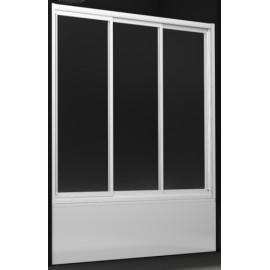Mampara Profiltek bañera B frontal 3 hojas correderas VIDRIO transparente aluminio blanco