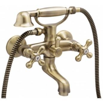Grupo de baño New Regent Classic bronce con flexo y mango telefono.