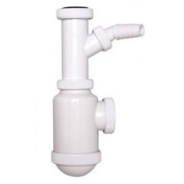 Sifón botella extensible salida horizontal con racord y toma de electrodomésticos (tuerca loca) C5