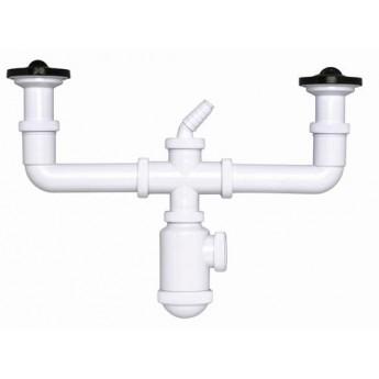 Sifón botella extensible salida horizontal con doble válvula extensible y toma de electrodomésticos