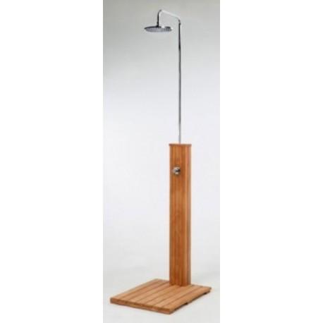 Ducha piscina BALI para exteriores en madera con monomando mezclador ...