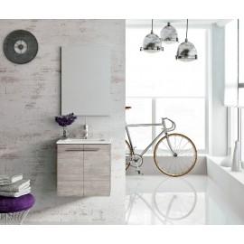 Mueble baño Royo STREET suspendido de 2 puertas de 50 cm de ancho,lavabo y espejo.