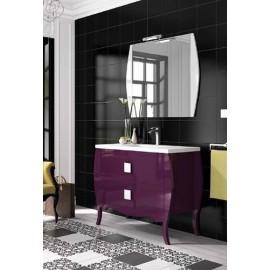 Mueble baño CASABLANCA suspendido con espejo y encimera de porcelana.
