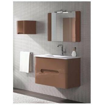 Mueble baño LIBRA con espejo y lavabo de porcelana suspendido.