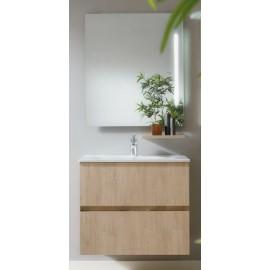 Mueble baño MOLTO de 70 cm suspendido acabado en roble con lavabo ceramico, estante en robre de 30 cm  y espejo.