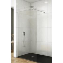 Mampara ducha fijo transparente de 8 mm en aluminio cromo brillo y brazo soporte,