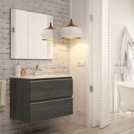 Mueble baño MADRID acabado ebony de 80 cm ,con lavabo ceramico y espejo.Nuevo modelo en oferta por su lanzamiento
