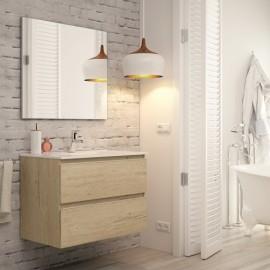 Mueble baño MADRID acabado bambu de 80 cm ,con lavabo ceramico y espejo.Nuevo modelo en oferta por su lanzamiento
