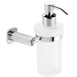 Dosificador de jabon baño laton y cristal cromo BASIC cromo de laton y zamak.