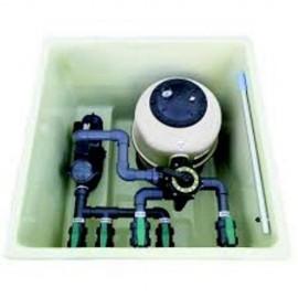 Caseta filtracion piscina completa de semienterrar con bomba de 0.5 CV.