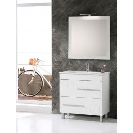 Mueble baño Claudia blanco brillo y encimera de ceramica blanca con espejo