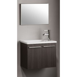 Mueble de baño DANUBIO roble ceniza con encimera y espejo.