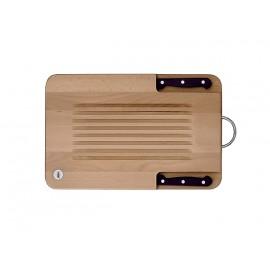 Tabla de cocina Twin con 2 cuchillos Profilo y soporte para colgar en cromo brillo