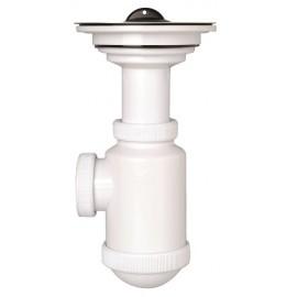 Sifón botella extensible salida horizontal con válvula fregadero de 115 Ø mm.