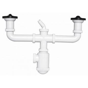 Sifón botella extensible salida horizontal con doble válvula y toma de electrodomésticos