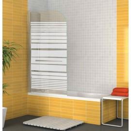 Mampara biombo bañera New Sentosa abatible cristal serigrafiado y con barra toallas. Mampara de 80cm de ancho x 145 de alto.